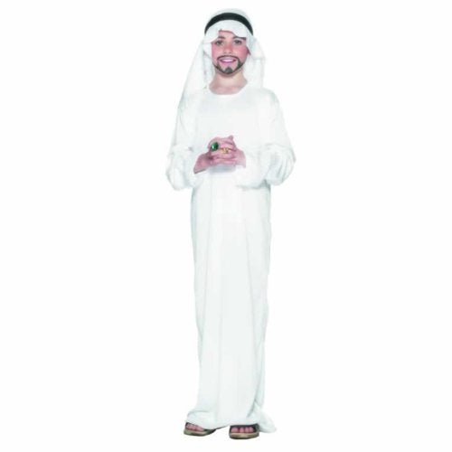 Arabian Costume, White, with Robe & Headpiece -  (Size: Medium Age 7-9)
