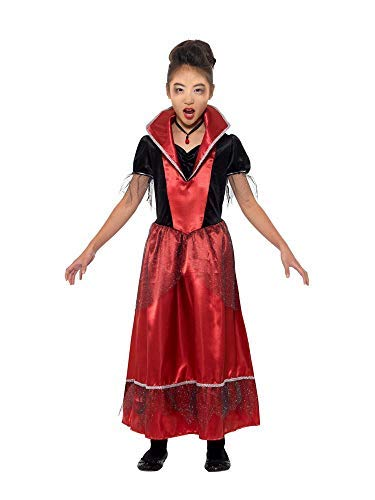 Vampire Princess Costume, Black & Red, with Dress with Attached Collar -  (Size: Large Age 10-12)