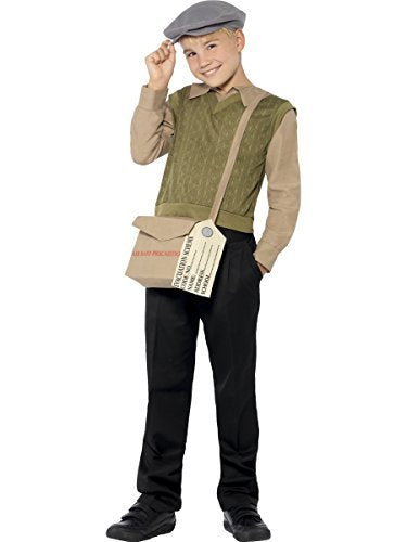 Evacuee Boy Kit, Green, with Jumper, Attached Mock Shirt, Hat, Bag and Tag -  (Size: Medium Age 7-9)