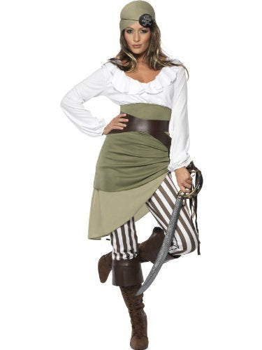 Shipmate Sweetie Costume, Green, Top, Skirt, Leggings, Bandana, Belt and Bootcuffs -  (Size: UK Dress 8-10)