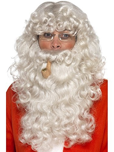 Santa Dress Up Kit, Grey, with Wig, Beard, Glasses & Pipe, Deluxe