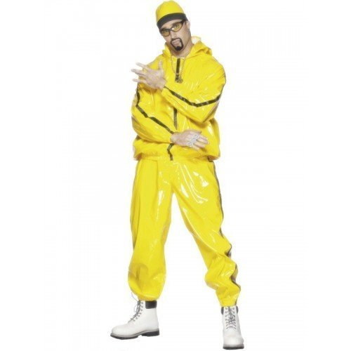 "Rapper Suit, Yellow, PVC, with Hooded Jacket, Trousers and Hat -  (Size: Chest 38""-40"", Leg Inseam 32.75"")"