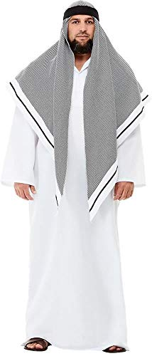 - Deluxe Fake Sheikh Costume, White, with Robe & Headdress -  (Size: Chest 42`-44`, Leg Inseam 33`) COST-M