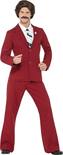 "Anchorman Ron Burgundy Costume, with Suit, Moustache, Mock Shirt & Tie -  (Size: Chest 38""-40"", Leg Inseam 32.75"")"