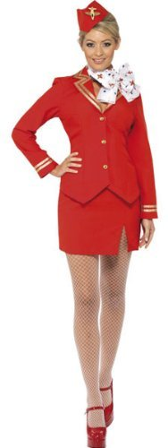 Trolley Dolly Costume, Red, with Jacket, Skirt, Scarf and Hat -  (Size: UK Dress 8-10)