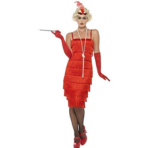 Flapper Costume, Red, with Long Dress, Headband & Gloves -  (Size: UK Dress 8-10)