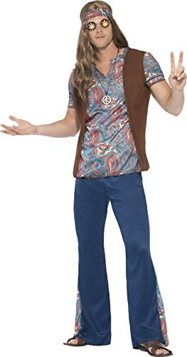 "Orion the Hippie Costume, Blue, with Top, Trousers, Headscarf & Medallion -  (Size: Chest 42""-44"", Leg Inseam 33"")"