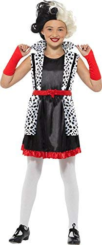 Evil Little Madame Costume, Black & White, with Dress, Attached Jacket & Gloves -  (Size: Medium Age 7-9)