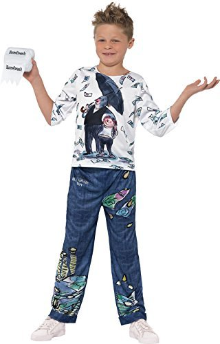 David Walliams Deluxe Billionaire Boy Costume, Blue & White, with Top, Trousers & Toilet Roll Accessory with Sound Chip -  (Size: Small Age 4-6)