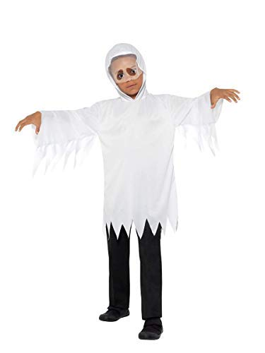 Ghost Costume, White, with Robe & Attached Veil -  (Size: Small/Medium Age 4-7)