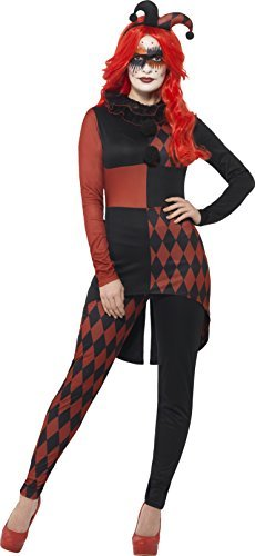 Sinister Jester Costume, Black & Red, with Jumpsuit, Collar & Hat -  (Size: UK Dress 8-10)