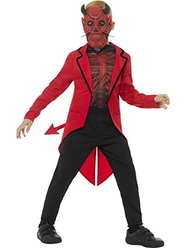 Deluxe Day of the Dead Devil Boy Costume, Red, with EVA Mask, Jacket & Top -  (Size: Medium Age 7-9)