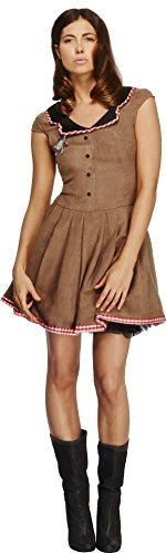 Fever Wild West Costume, Brown, with Dress -  (Size: UK Dress 12-14)