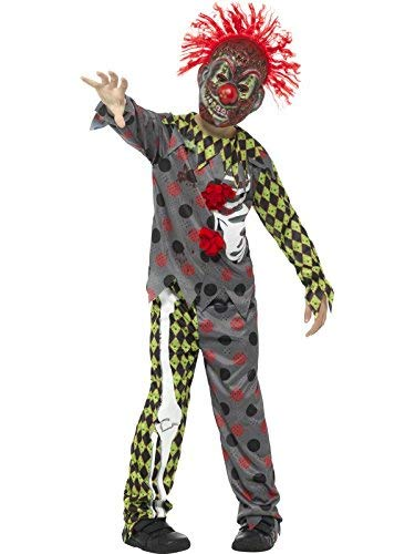 Deluxe Twisted Clown Costume, Multi-Coloured, with Top, Trousers & EVA Mask with Hair -  (Size: Small Age 4-6)