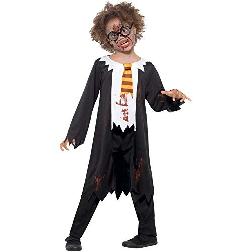 Zombie Student Costume, Black & White, with Robe, Attached Shirt & Tie -  (Size: Large Age 10-12)