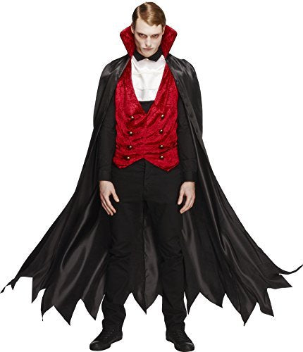 "Fever Vampire Costume, Black & Red, with Waistcoat, Cape and Cravat -  (Size: Chest 42""-44"", Leg Inseam 33"")"