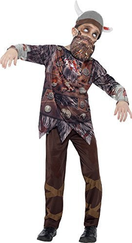Deluxe Zombie Viking Costume, Brown, Top, Trousers, Beard, Hat & Sublimation Print -  (Size: Small Age 4-6)