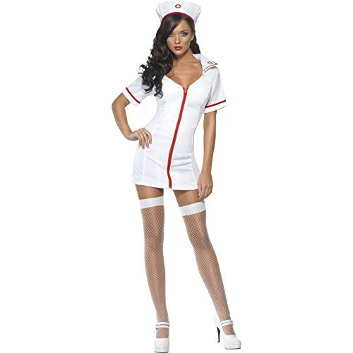 Fever No Nonsense Nurse Costume, White, with Dress &  Hat -  (Size: UK Dress 8-10)