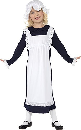 Victorian Poor Girl Costume, White, with Dress, Apron & Hat -  (Size: Large Age 10-12)