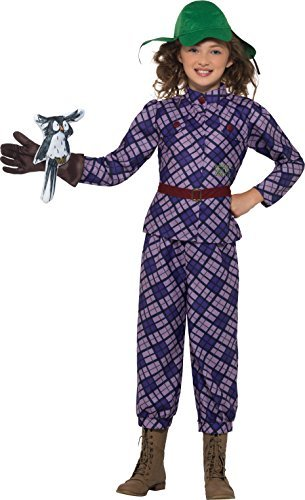 David Walliams Deluxe Awful Auntie Costume, Purple, with Top, Trousers, Hat, Glove & Owl Accessory -  (Size: Large Age 10-12)