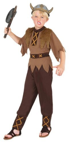 Viking Costume, Brown, with Top, Trousers & Hat -  (Size: Small Age 4-6)