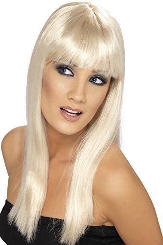 - Glamourama Wig, Blonde, Long, Straight with Fringe