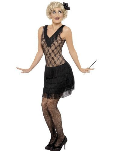 All That Jazz Costume, Black, Dress and Hair Piece -  (Size: UK Dress 16-18)