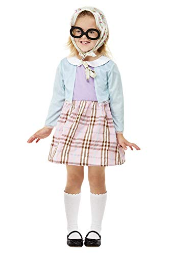 - Toddler Old Lady Costume, Blue, Dress, Headscarf & Glasses COST-W