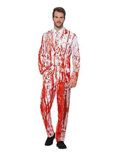 Blood Drip Suit, Red, with Jacket, Trousers & Tie -  (Size: Chest 42`-44`, Leg Inseam 33`)