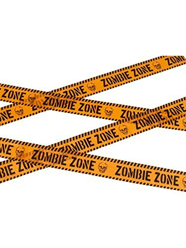 Zombie Zone Caution Tape, Orange & Black, 6m / 236in