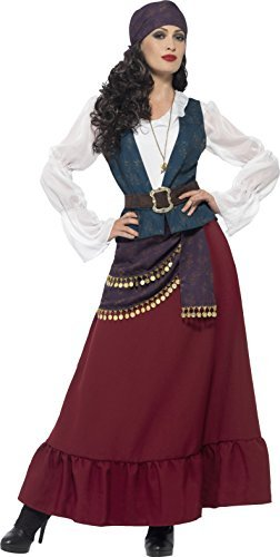 Deluxe Pirate Buccaneer Beauty Costume, Purple, with Dress, Sash, Bandana & Necklace -  (Size: UK Dress 12-14)