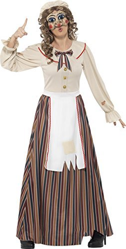 Possessed Judy Costume, Multi-Coloured, with Dress, Hat & Latex Mask -  (Size: UK Dress 12-14)