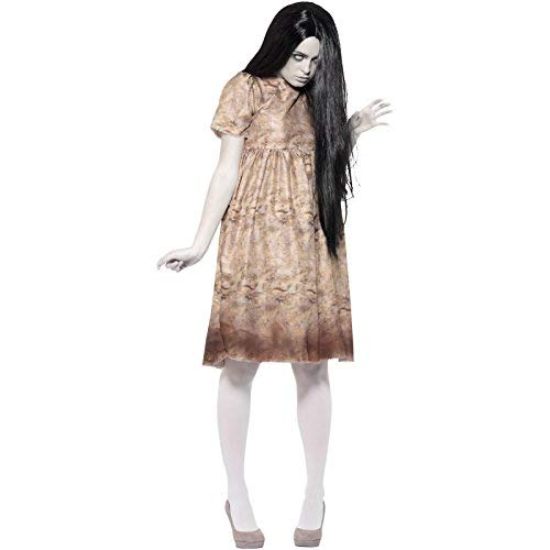 Evil Spirit Costume, Grey, with Decayed Dress & Wig -  (Size: UK Dress 16-18)
