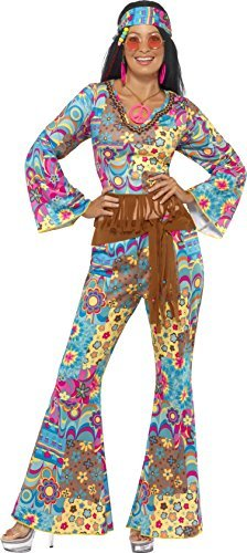 Hippy Flower Power Costume, Multi-Coloured, with Top, Trousers, Headband and Belt -  (Size: UK Dress 8-10)