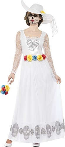 Day of the Dead Skeleton Bride Costume, White, with Dress, Hat & Bouquet -  (Size: UK Dress 16-18)