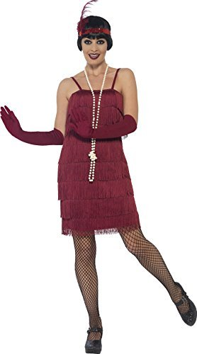 Flapper Costume, Burgundy Red, with Short Dress, Headband & Gloves -  (Size: UK Dress 16-18)