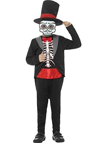 Day of the Dead Boy Costume, Black, with Jacket, Mock Top, Trousers, Hat & Mask -  (Size: Medium Age 7-9)