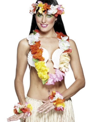 Hawaiian Set, Deluxe, Multi-Coloured, with Garland, Headband and Wristband