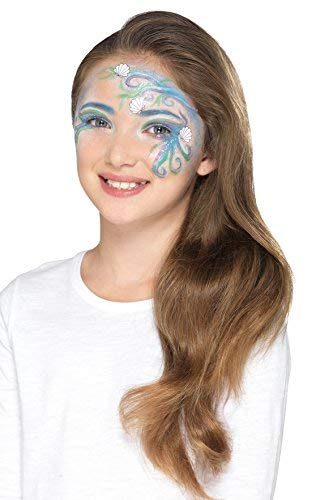 `Smiffys Make Up FX, Kids Mythical Kit, Aqua, Multi-Coloured, with 5 Colours, Crayon, Glitter, Stickers, Sponge, Brush`