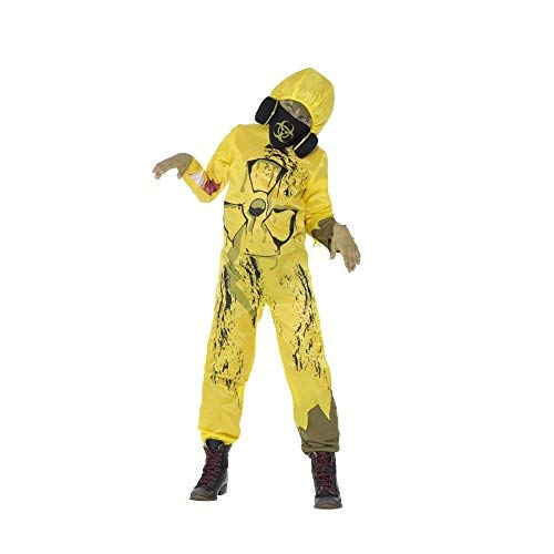 Toxic Waste Costume, Yellow, Jumpsuit with Gas Mask -  (Size: Tween 12+)