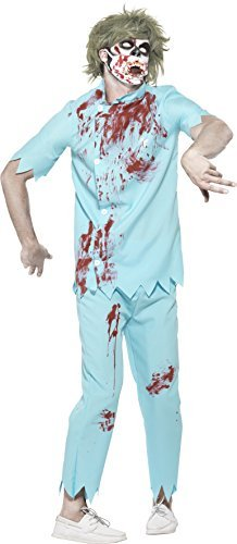 "Zombie Dentist Costume, Blue, with Top, Trousers, Face Mask & Latex Teeth -  (Size: Chest 42""-44"", Leg Inseam 33"")"