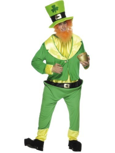 Leprechaun Costume, Green, with Jumpsuit, Jacket, Hat and Ginger Beard