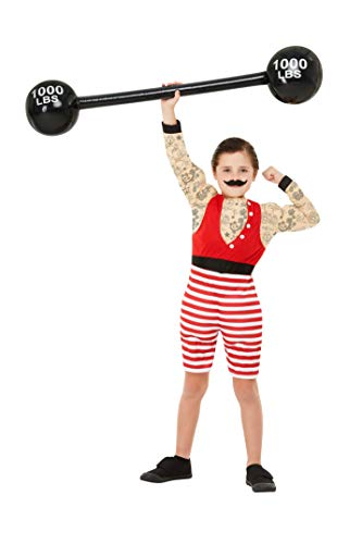 - Deluxe Strong Boy Costume, Multi-Coloured, with Short Jumpsuit & Moustache -  (Size: Large Age 10-12) COST-M