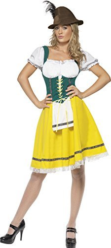 Oktoberfest Costume, Female, Yellow, Dress with Attached Apron -  (Size: UK Dress 12-14)