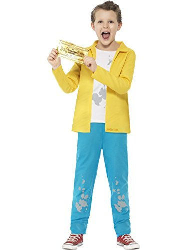 Roald Dahl Charlie Bucket Costume, Yellow, with Top, Trousers & Golden Ticket -  (Size: Small Age 4-6)
