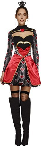 Fever Queen Of Hearts Costume, Black, Dress, Attached Underskirt & Mini Crown -  (Size: UK Dress 12-14)
