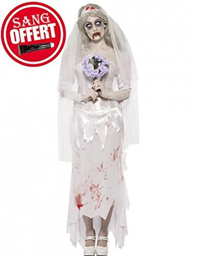 Till Death Do Us Part Zombie Bride Costume, White, with Dress, Veil and Bouquet -  (Size: UK Dress 12-14)