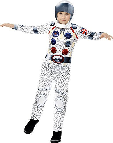 Deluxe Spaceman Costume, White, with Jumpsuit & Headpiece, Digital Print -  (Size: Small Age 4-6)