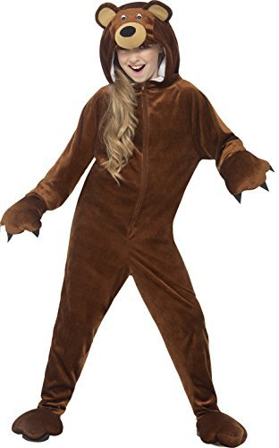 Bear Costume, Brown, Hooded All in One -  (Size: Small Age 4-6)
