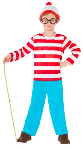 Where's Wally? Costume, Red & White, with Top, Trousers, Glasses & Hat -  (Size: Small Age 4-6)